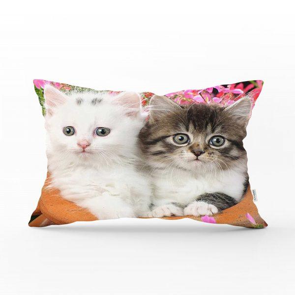 Sevimli Kediler Dijital Baskılı Dekoratif Dikdörtgen Yastık Kırlent Kılıfı Realhomes