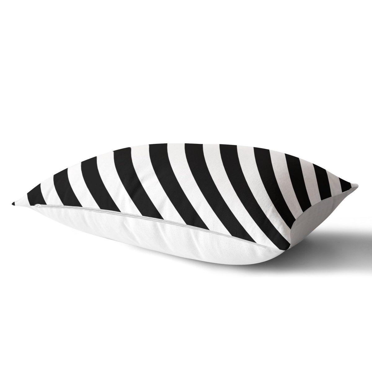 Siyah Beyaz Şeritli Dijital Baskılı Dikdörtgen Yastık Kırlent Kılıfı Realhomes