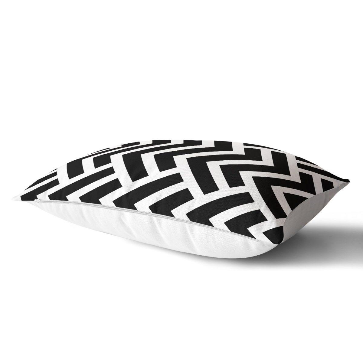 Siyah Beyaz Geometrik Desenli Dijital Dikdörtgen Yastık Kırlent Kılıfı Realhomes