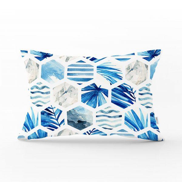 Mavi Temalı Geometrik Şekilli Dekoratif Dikdörtgen Yastık Kırlent Kılıfı Realhomes