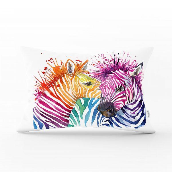 Zebra Desenli Dijital Baskılı Dekoratif Dikdörtgen Yastık Kırlent Kılıfı Realhomes