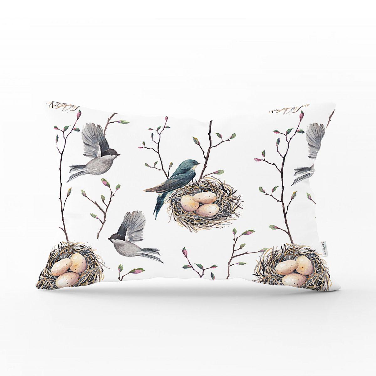 Kuşlar ve Dal Desenli Dekoratif Dikdörtgen Yastık Kırlent Kılıfı Realhomes