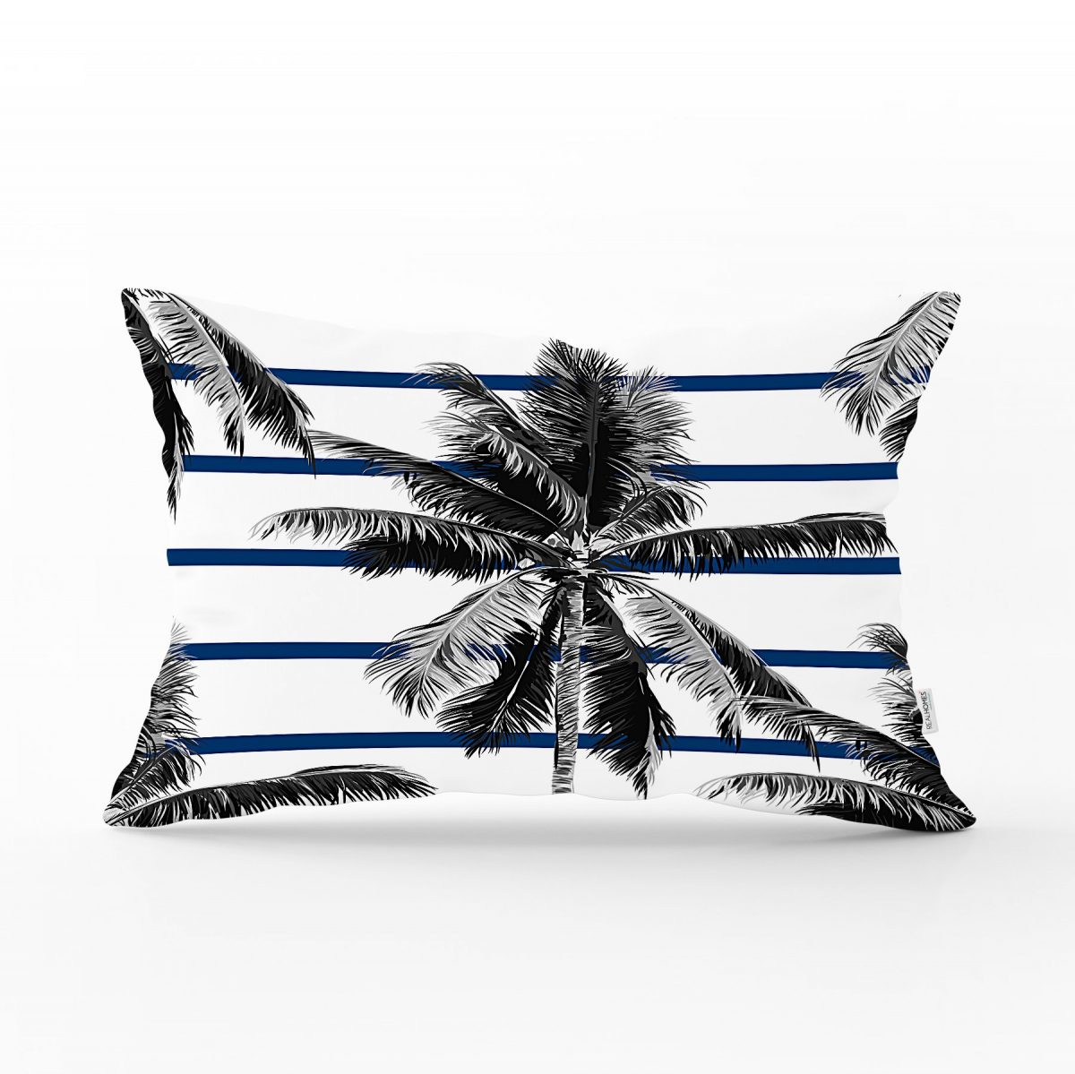 Çizgili Palmiye Yaprakları Dekoratif Dikdörtgen Yastık Kırlent Kılıfı Realhomes