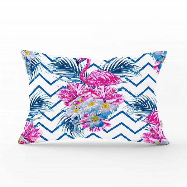 Zigzag Zeminli Flamingo Baskılı Dekoratif Dikdörtgen Yastık Kırlent Kılıfı Realhomes