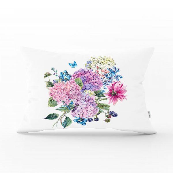 Füme Temalı Kavaniçe Çiçek Motifli Dijital Baskılı Dikdörtgen Yastık Kırlent Kılıfı Realhomes