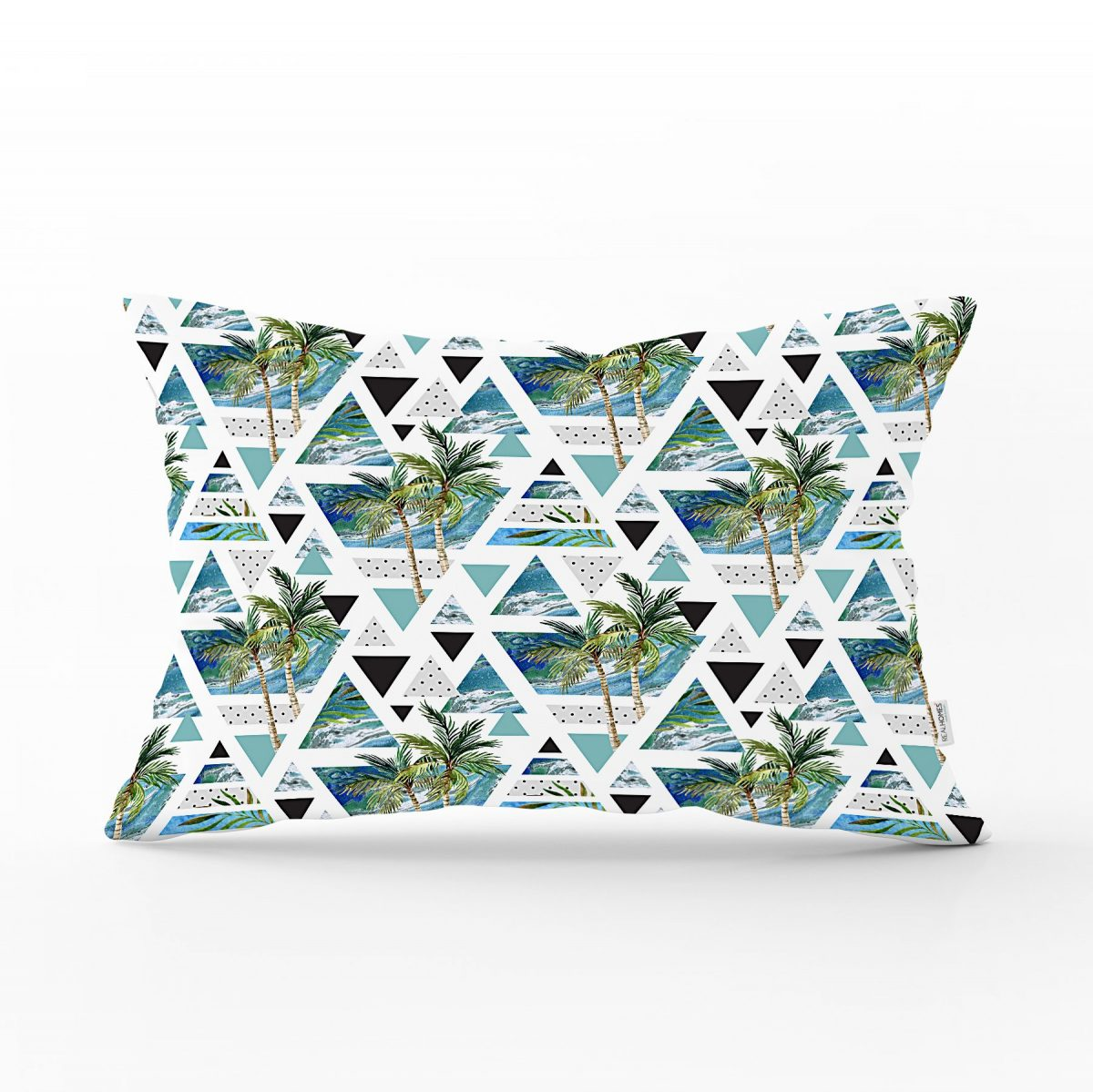 Mavi Geometrik Palmiye Desenleri Dekoratif Dikdörtgen Yastık Kılıfı Realhomes