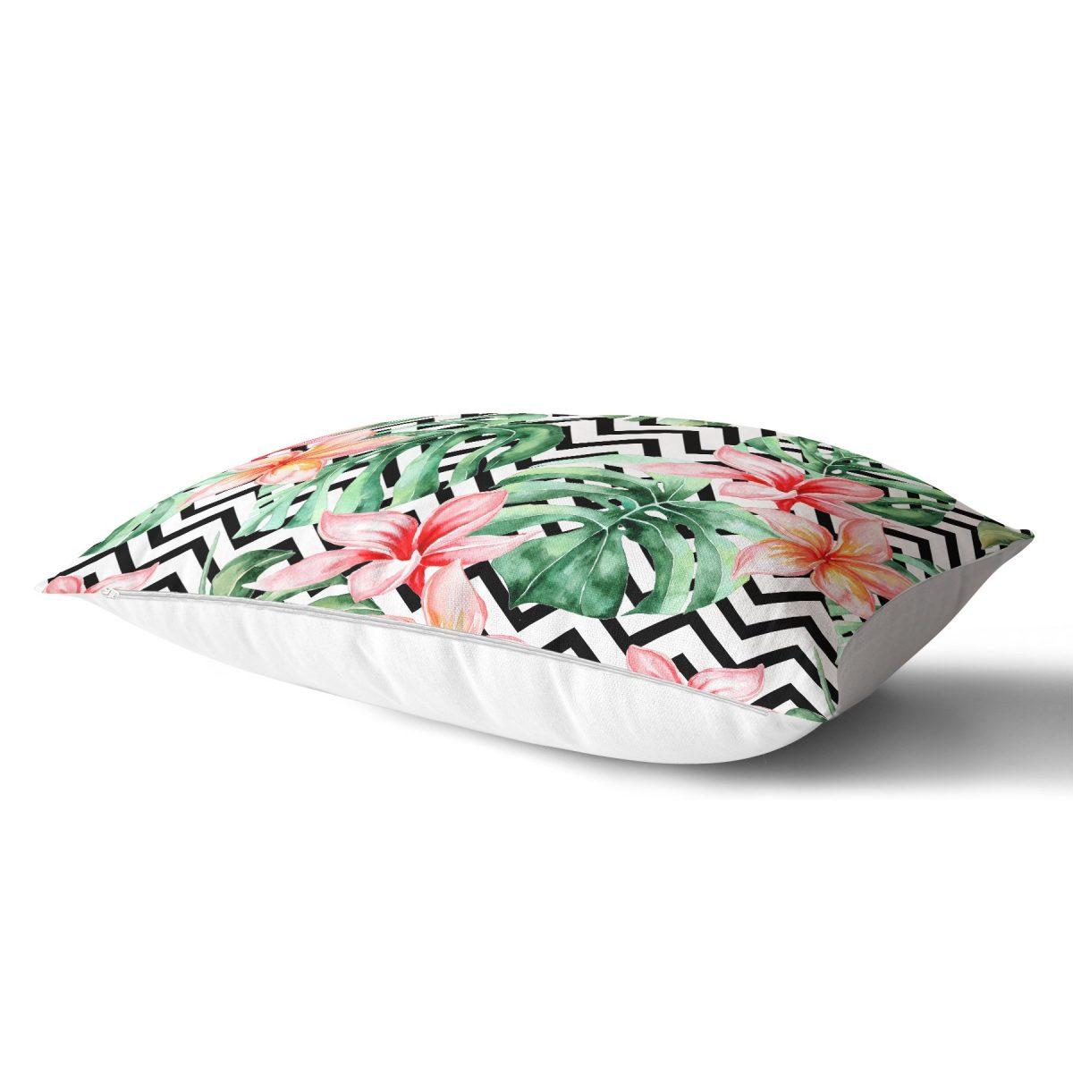 Zigzag Zebra Desenli Dijital Baskılı Dikdörtgen Yastık Kırlent Kılıfı Realhomes