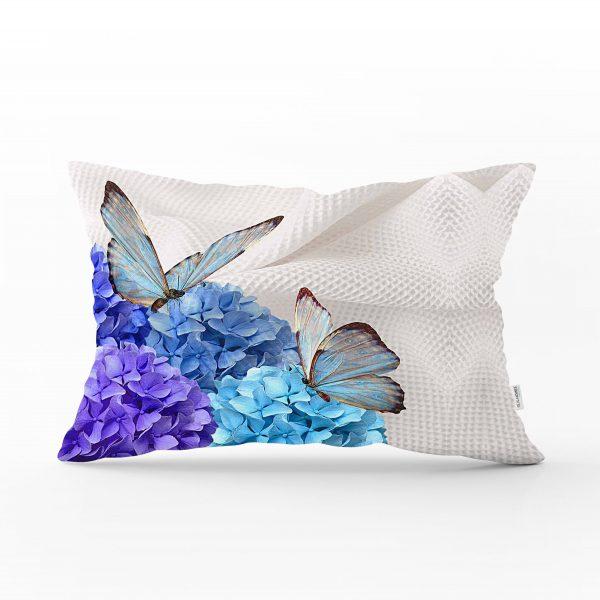 Kelebek Dünyası Dijital Baskılı Dekoratif Dikdörtgen Yastık Kırlent Kılıfı Realhomes