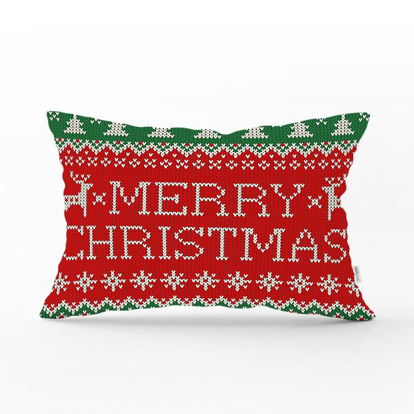 Merry Christmas Motifli Dijital Baskılı Dikdörtgen Yastık Kırlent Kılıfı Realhomes