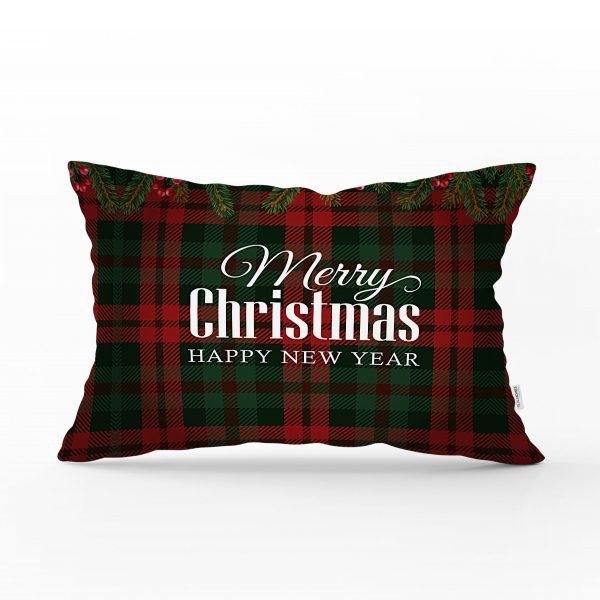 Ekose Zeminde Merry Christmas Baskılı Dekoratif Dikdörtgen Yastık Kırlent Kılıfı Realhomes