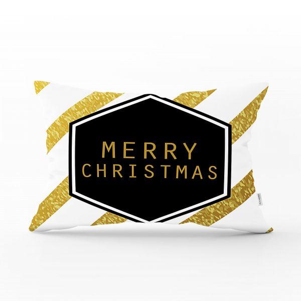 Altın Şeritli Merry Christmas Desenli Dekoratif Dikdörtgen Yastık Kırlent Kılıfı Realhomes