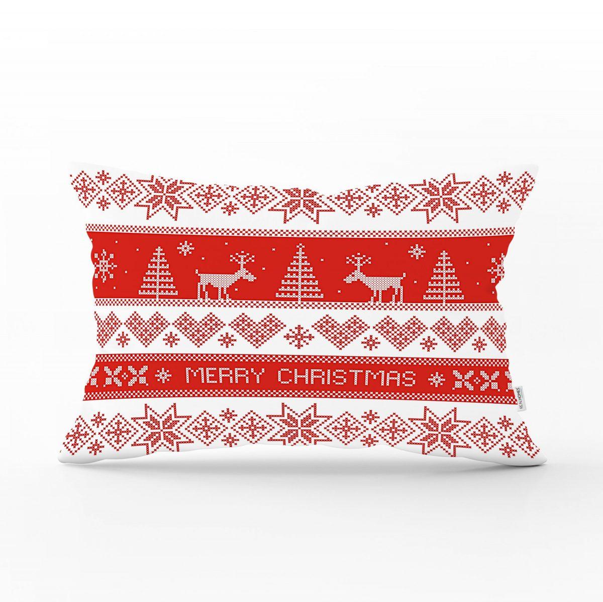 Kanaviçe Christmas Tasarımlı Dikdörtgen Yastık Kırlent Kılıfı Realhomes