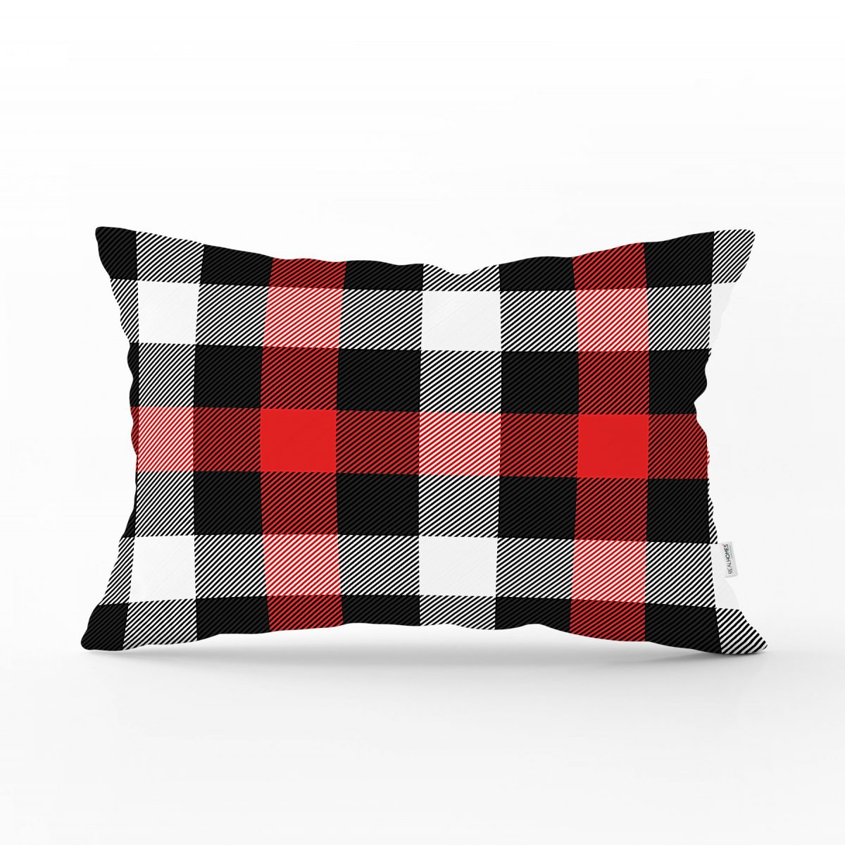 Siyah Kırmızı Beyaz Ekose Desenli Dekoratif Dikdörtgen Yastık Kırlent Kılıfı Realhomes