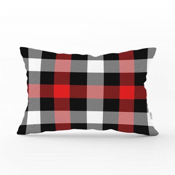 Kırmızı Siyah Beyaz Ekose Desenli Dekoratif Dikdörtgen Yastık Kırlent Kılıfı Realhomes