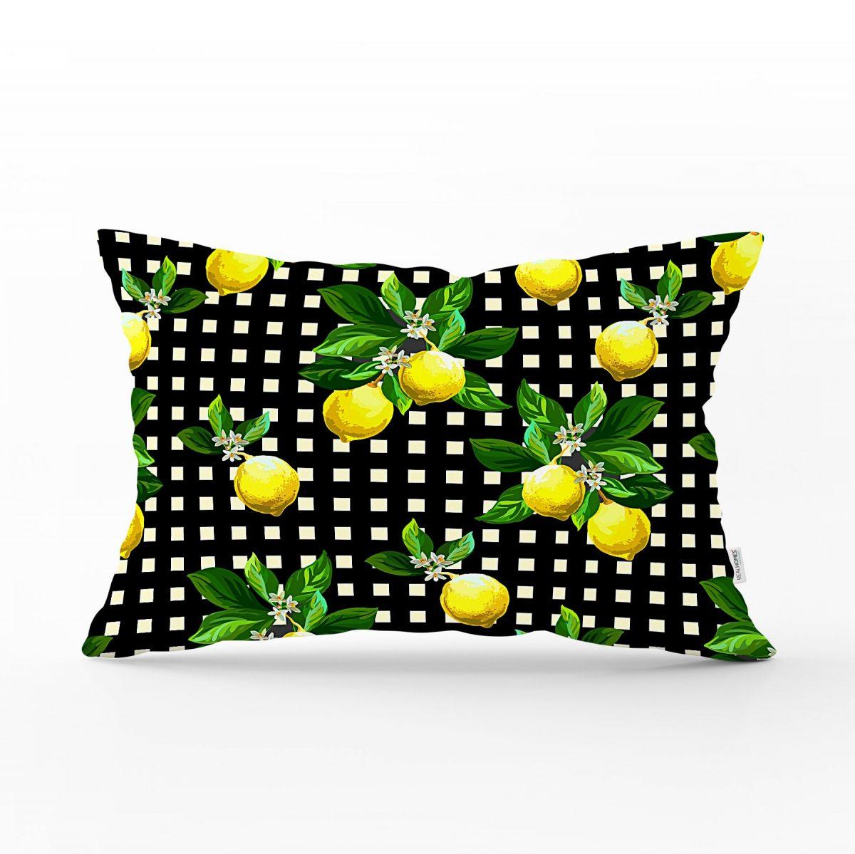 Siyah Zeminde Ekose Desenli Limon Baskılı Dekoratif Dikdörtgen Yastık Kılıfı Realhomes
