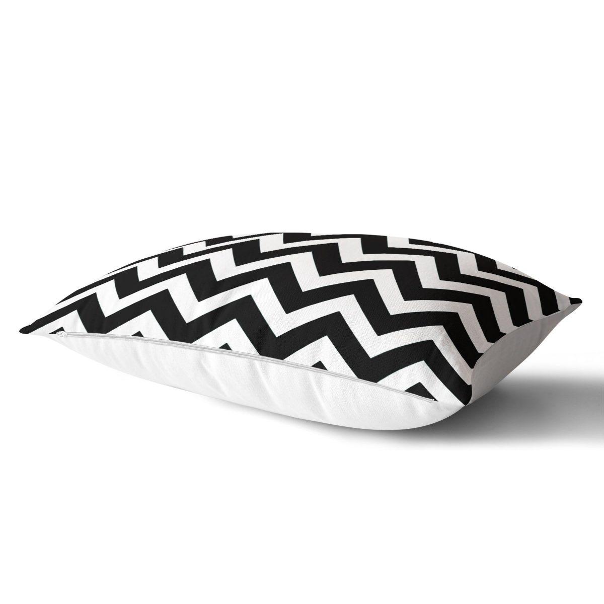 Modern Zigzag Desenli Dijital Baskılı Dekoratif Dikdörtgen Yastık Kırlent Kılıfı Realhomes