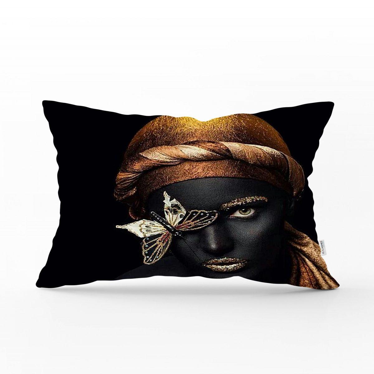 Gold Siyahı Kadın Özel Tasarımlı dekoratif Dikdörtgen Yastık Kırlent Kılıfı Realhomes