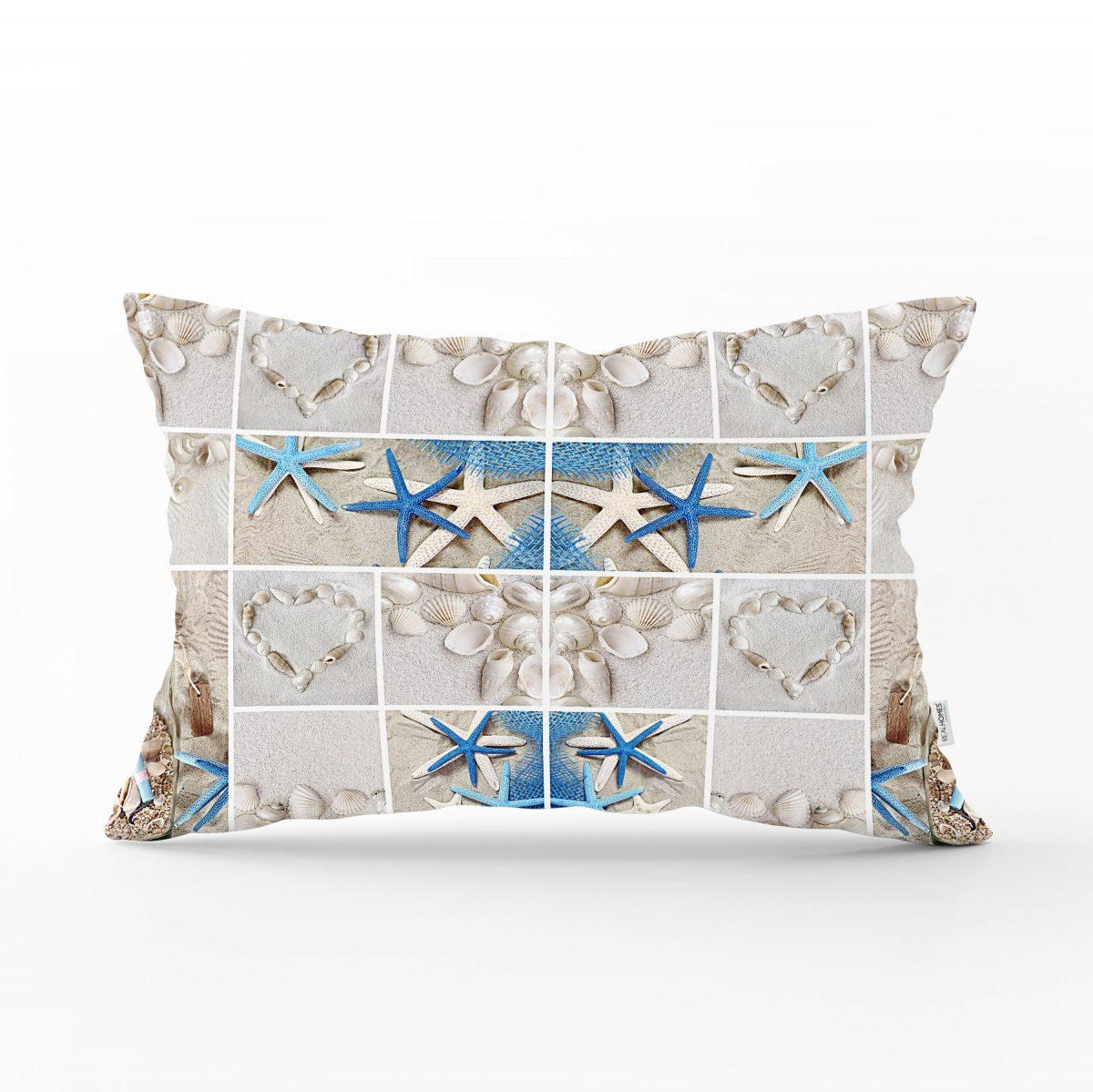 Deniz Yıldızı Dijital Baskılı Dekoratif Dikdörtgen Yastık Kırlent Kılıfı Realhomes