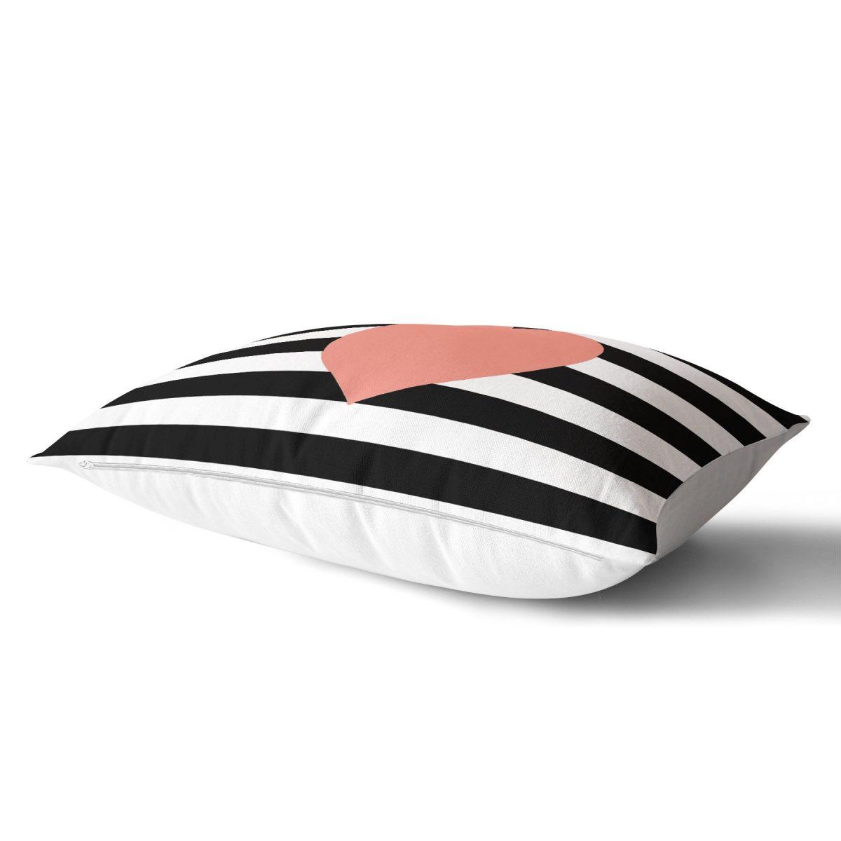 Modern Kalp Desenli Dijital Baskılı Dekoratif Dikdörtgen Yastık Kırlent Kılıfı Realhomes