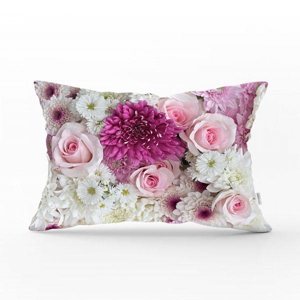 Çiçek Demeti Dijital Baskılı Dekoratif Dikdörtgen Yastık Kırlent Kılıfı Realhomes