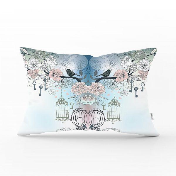 Modern Kuş Desenli Dijital Baskılı Dekoratif Dikdörtgen Yastık Kırlent Kılıfı Realhomes