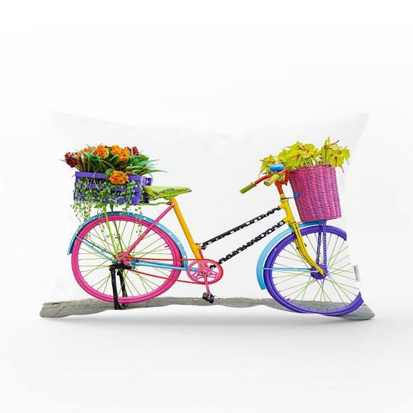 Modern Bisiklet Desenli Dijital Baskılı Dekoratif Dikdörtgen Yastık Kırlent Realhomes