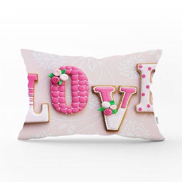 Aşk Temalı Dijital Baskılı Dekoratif Dikdörtgen Yastık Kırlent Kılıfı Realhomes