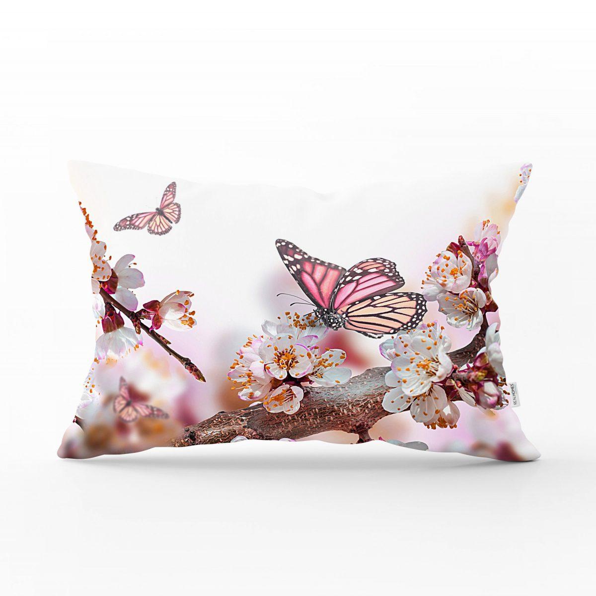 Modern Kelebek Dijital Baskılı Dekoratif Dikdörtgen Yastık Kırlent Kılıfı Realhomes