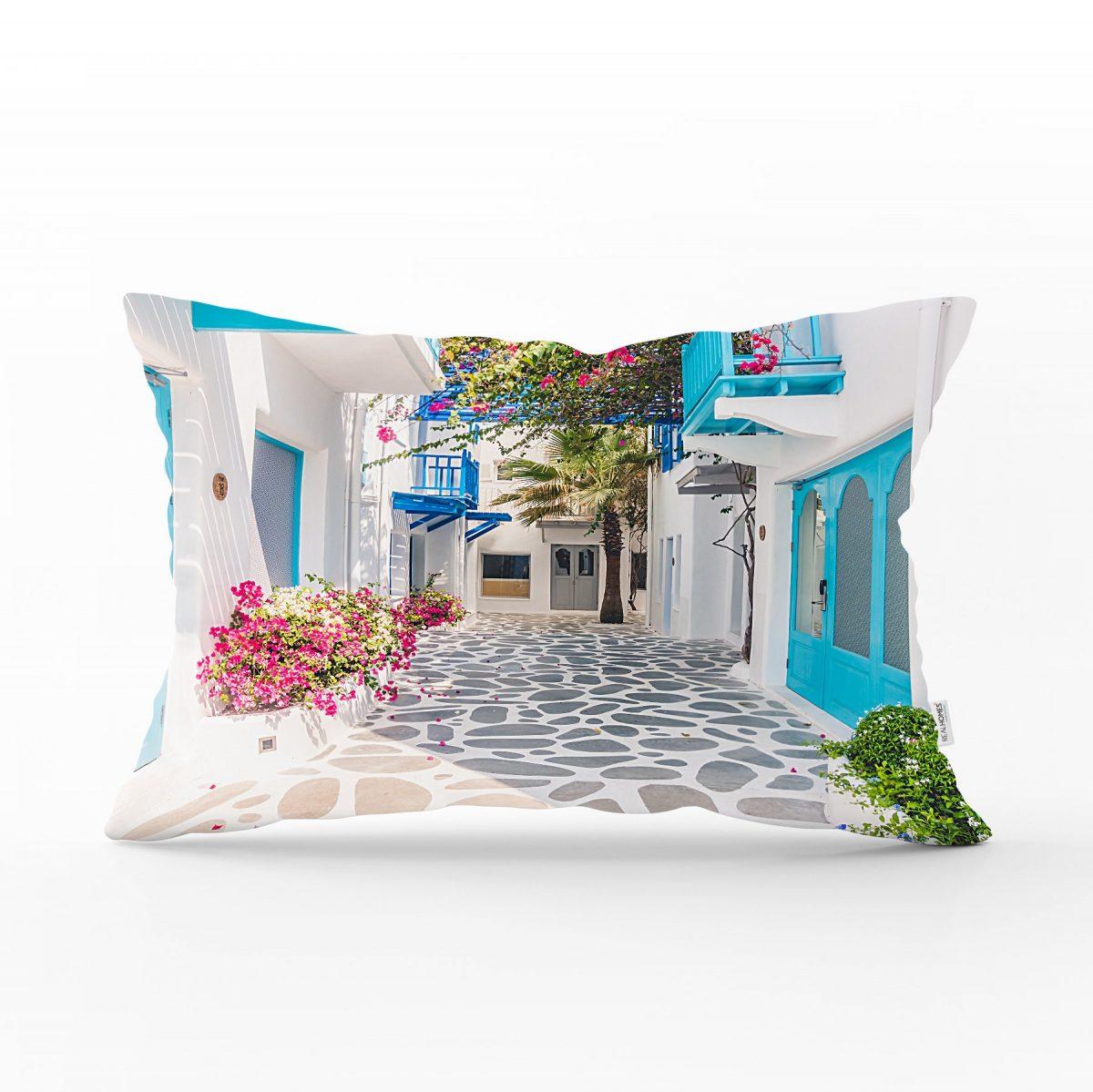 Çiçek Temalı Dijital Baskılı Dekoratif Dikdörtgen Yastık Kırlent Kılıfı Realhomes
