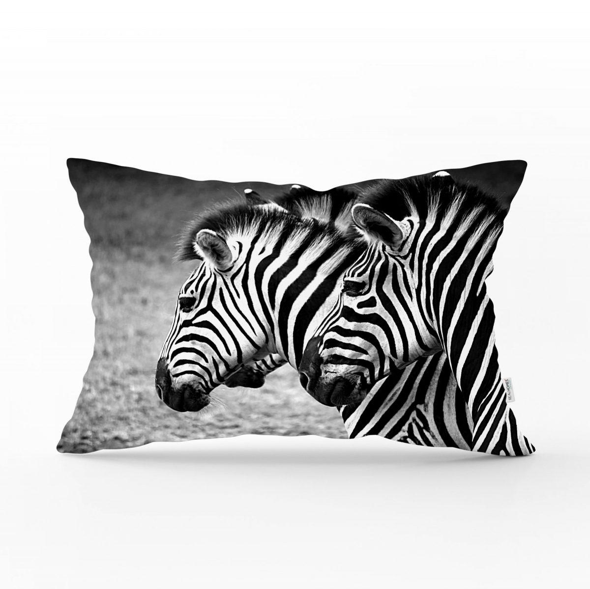 Modern Zebra Desen Dijital Baskılı Dikdörtgen Yastık Kırlent Kılıfı Realhomes