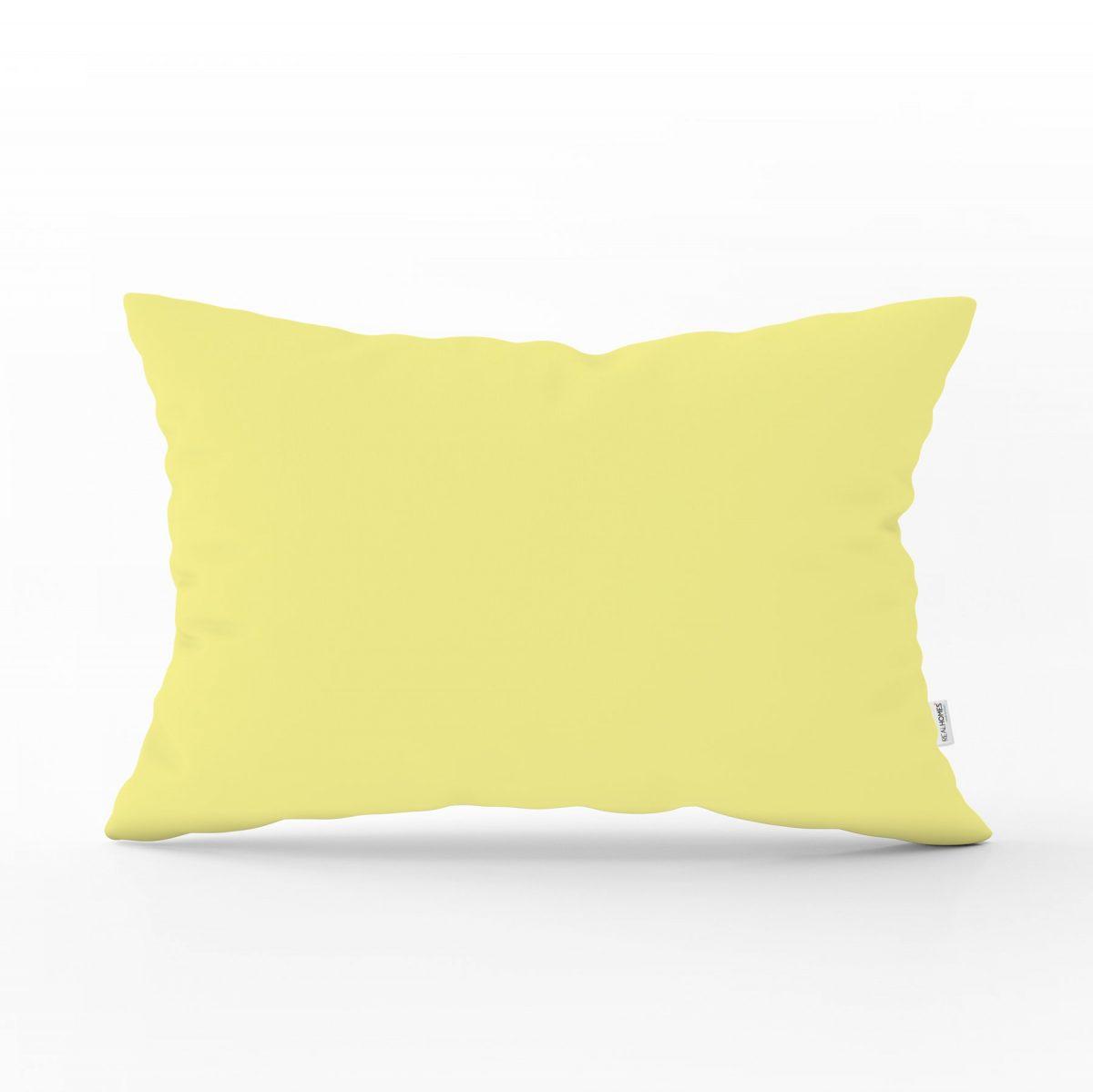 Sarı Renkli Dijital Baskılı Dekoratif Dikdörtgen Yastık Kırlent Kılı Realhomes