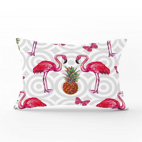 Flamingo Desenli Dijital Baskılı Dekoratif Dikdörtgen Yastık Kırlent Kılıfı Realhomes