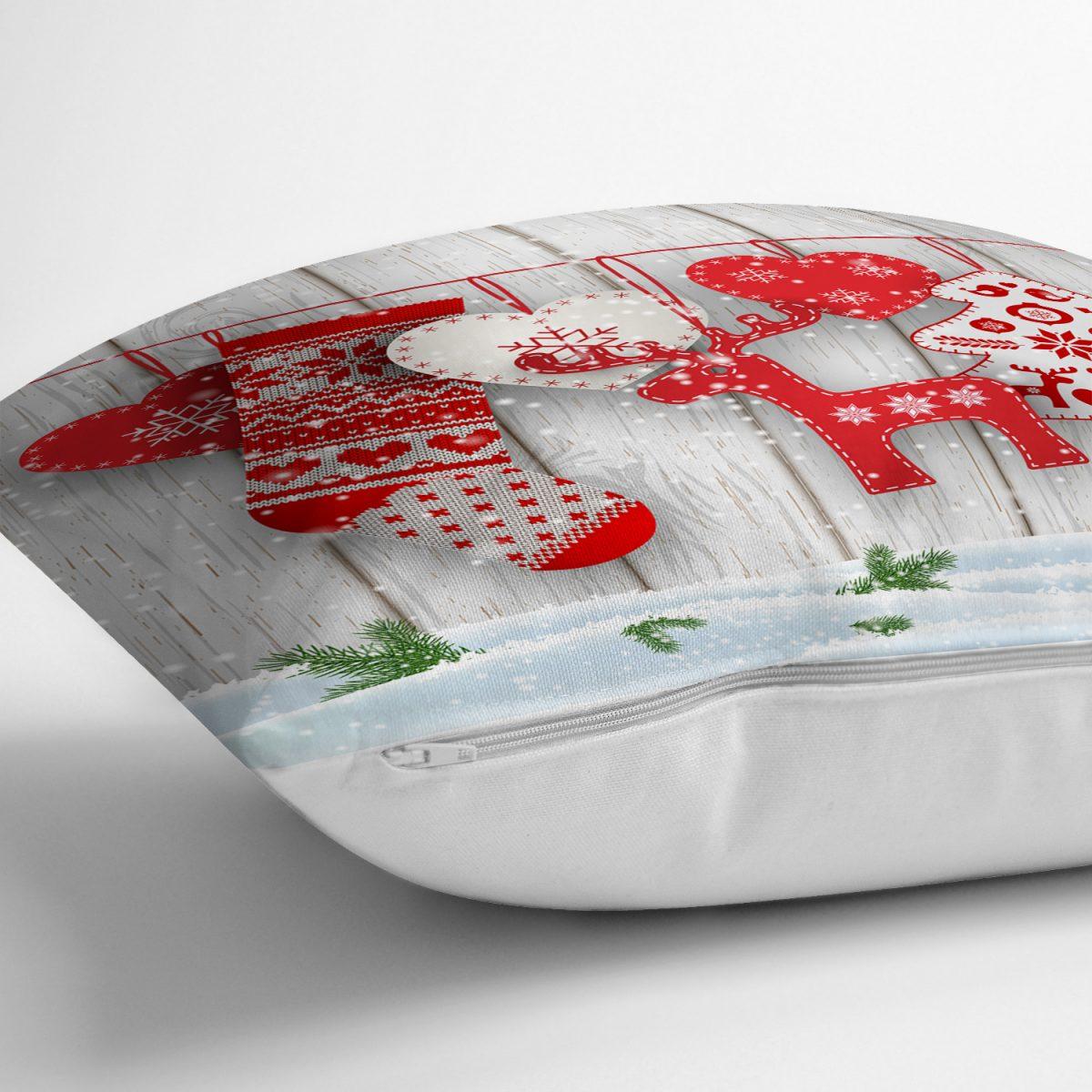 Yılbaşı Temalı Dijital Baskılı 3 D Yastık Kırlent Kılıfı Realhomes