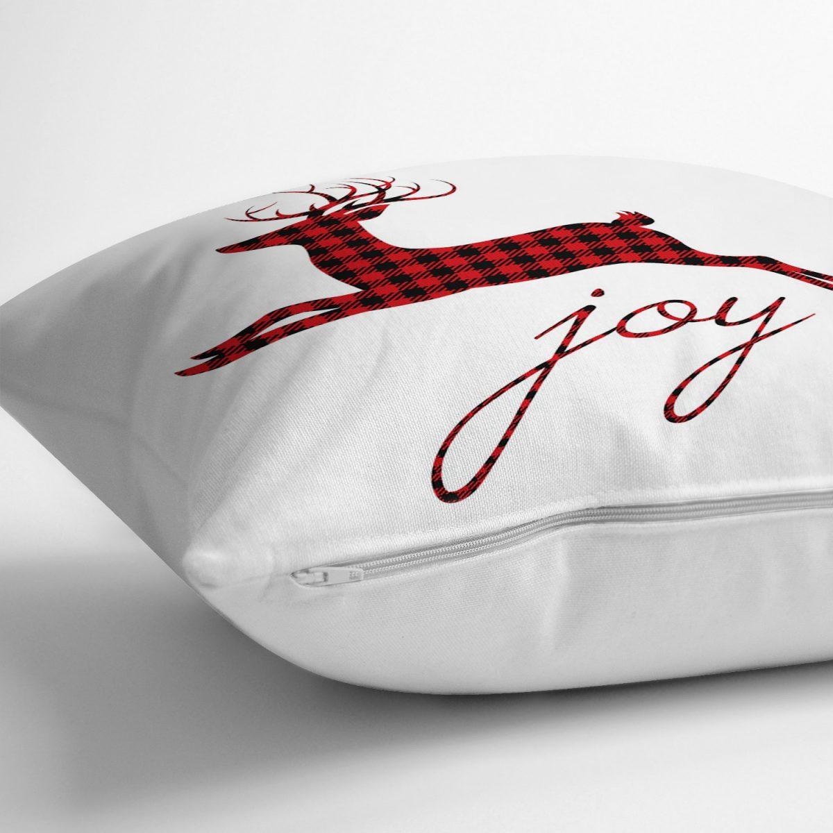 Joy Ekose Geyik Desenli Dekoratif Yastık Kırlent Kılıfı Realhomes
