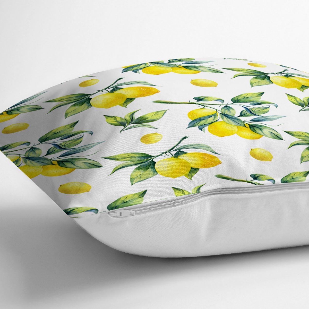 Beyaz Zeminde Limon Desenli 3D Dekoratif Yastık Kırlent Kılıfı Realhomes