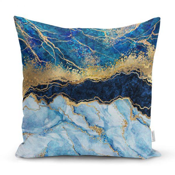 Altın Varaklı Mavi Zeminli Modern Yastık Kırlent Kılıfı Realhomes