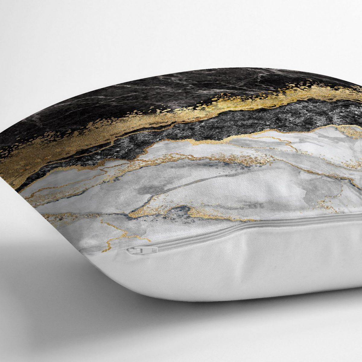 Modern Siyah Beyaz Altın Mermer Motifli Dijital Baskılı Yastık Kırlent Kılıfı Realhomes