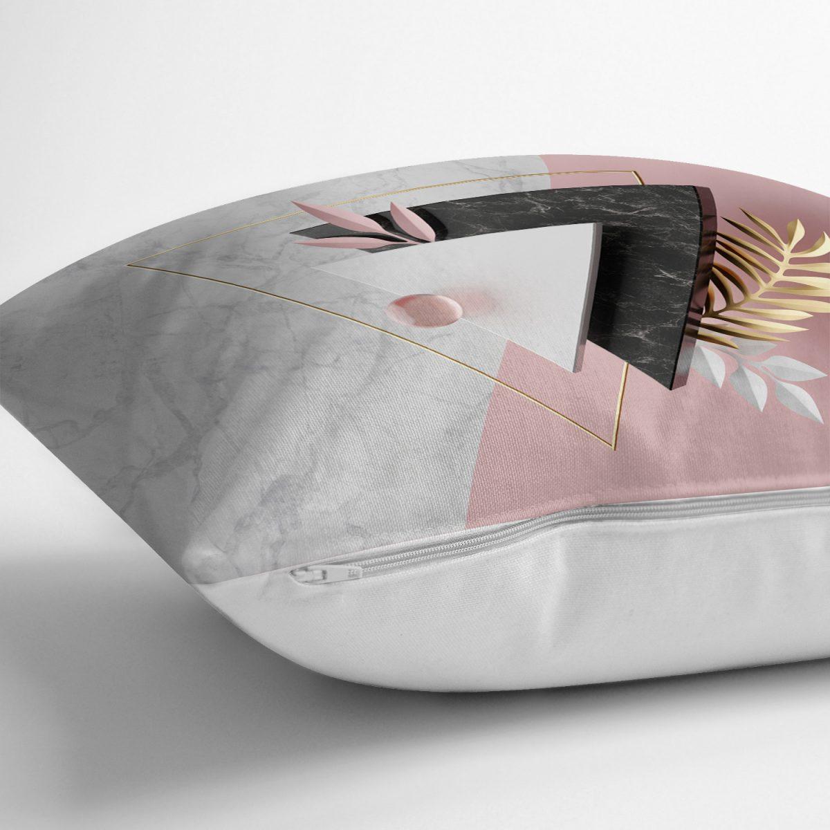 Modern Üçgen Mermer Desenli 3D Dijital Baskılı Yastık Kırlent Kılıfı Realhomes