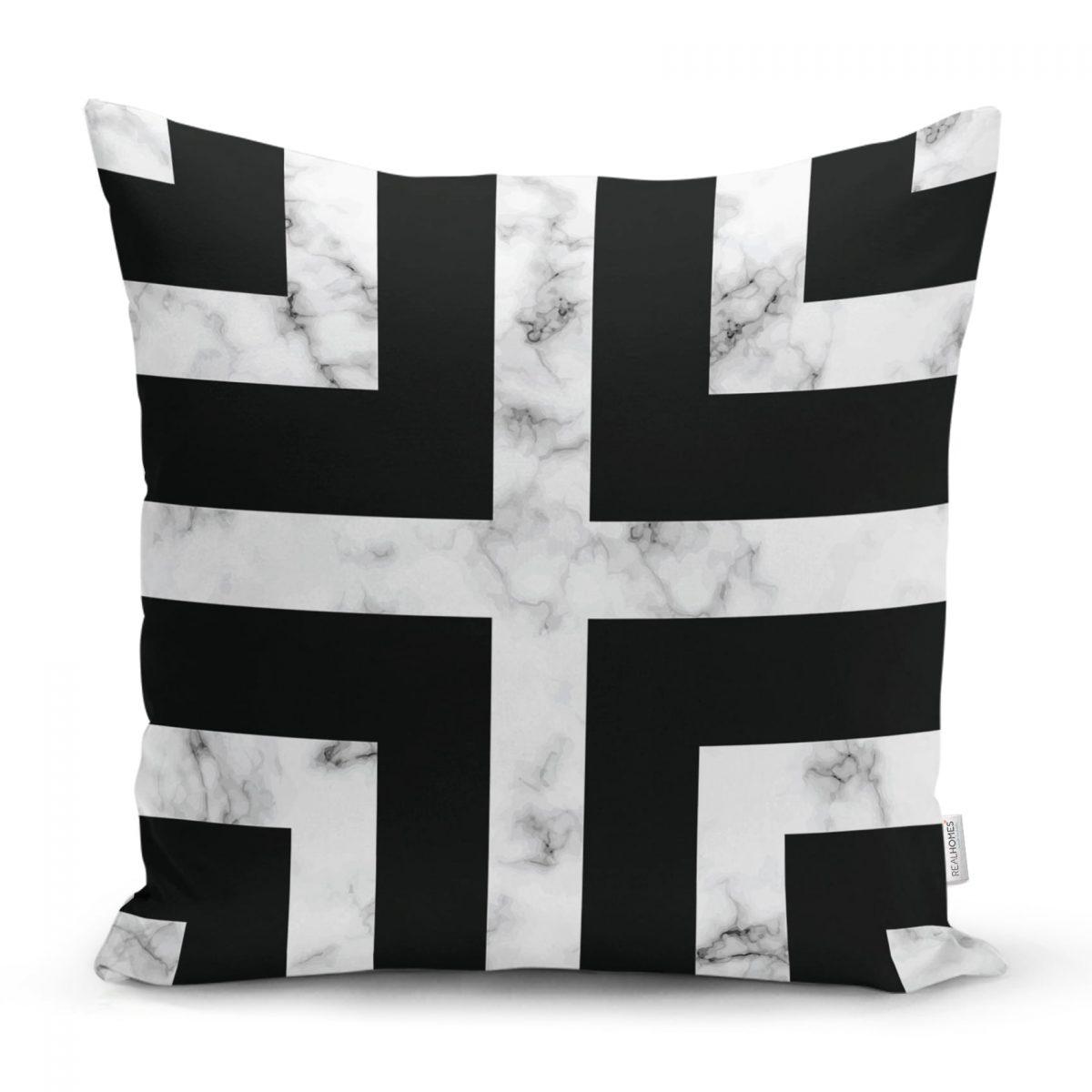 Mermer Zeminli Siyah Geometrik Desenli Modern Yastık Kırlent Kılıfı Realhomes