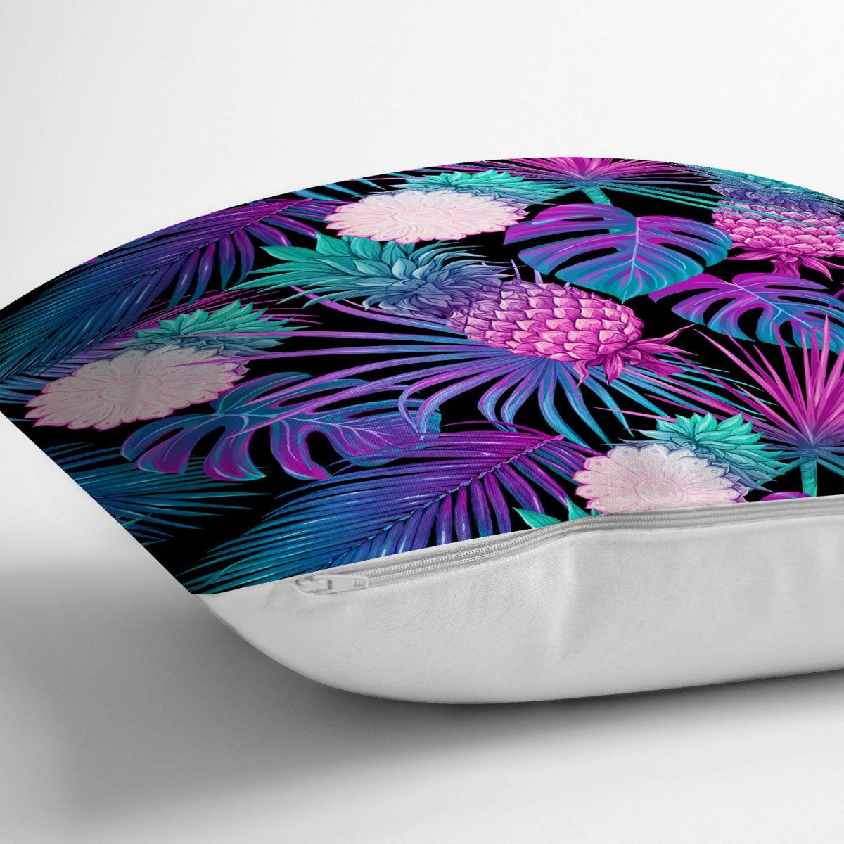 Lacivert Tropikal Desenli Dijital Baskılı Yastık Kırlent Kılıfı Realhomes