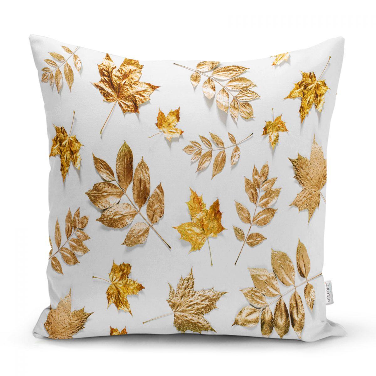 Beyaz Zeminde Altın Yapraklar Desenli Dijital Baskılı Yastık Kılıfı Realhomes