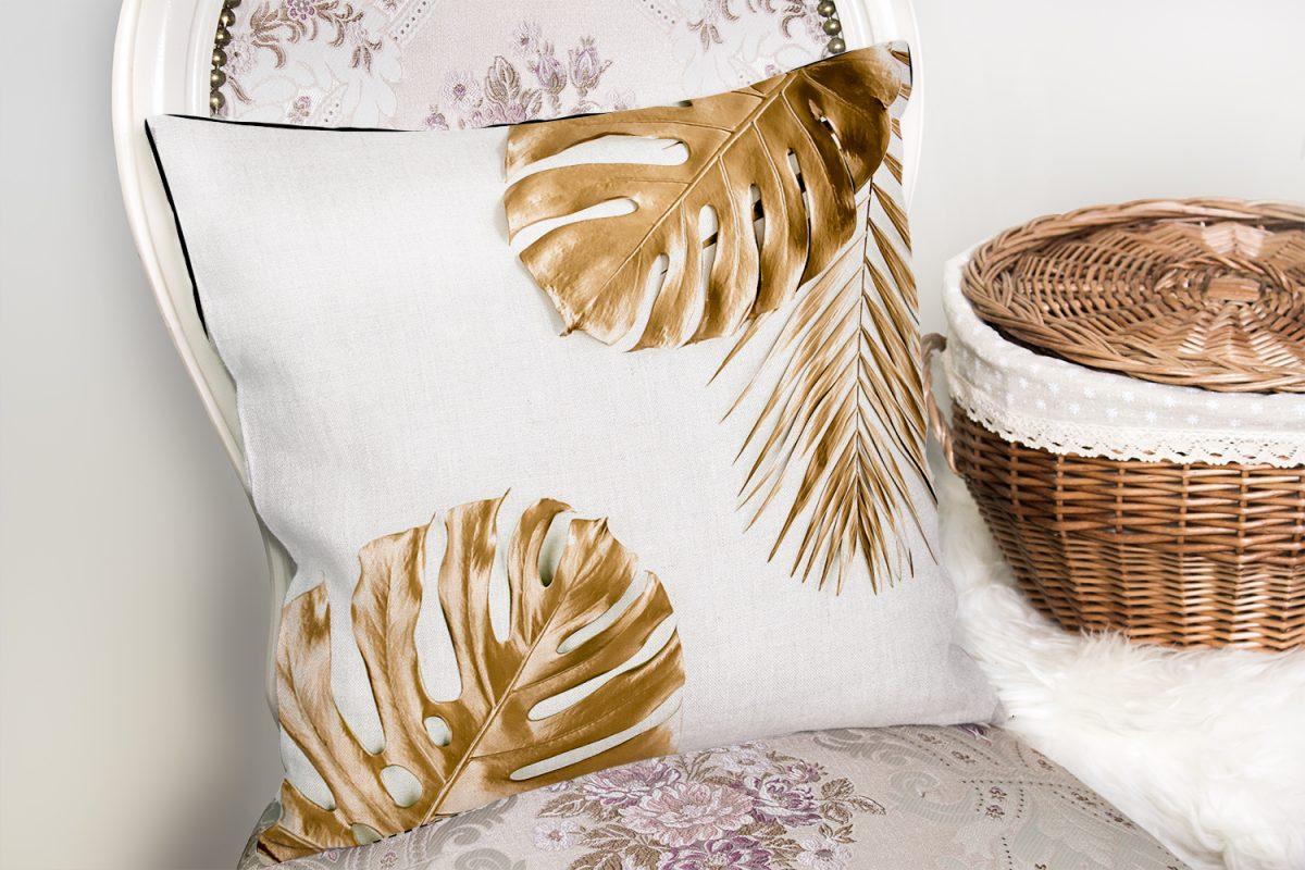 3D Altın Renkli Palmiye Yaprakları Desenli Dekoratif Yastık Kırlent Kılıfı Realhomes