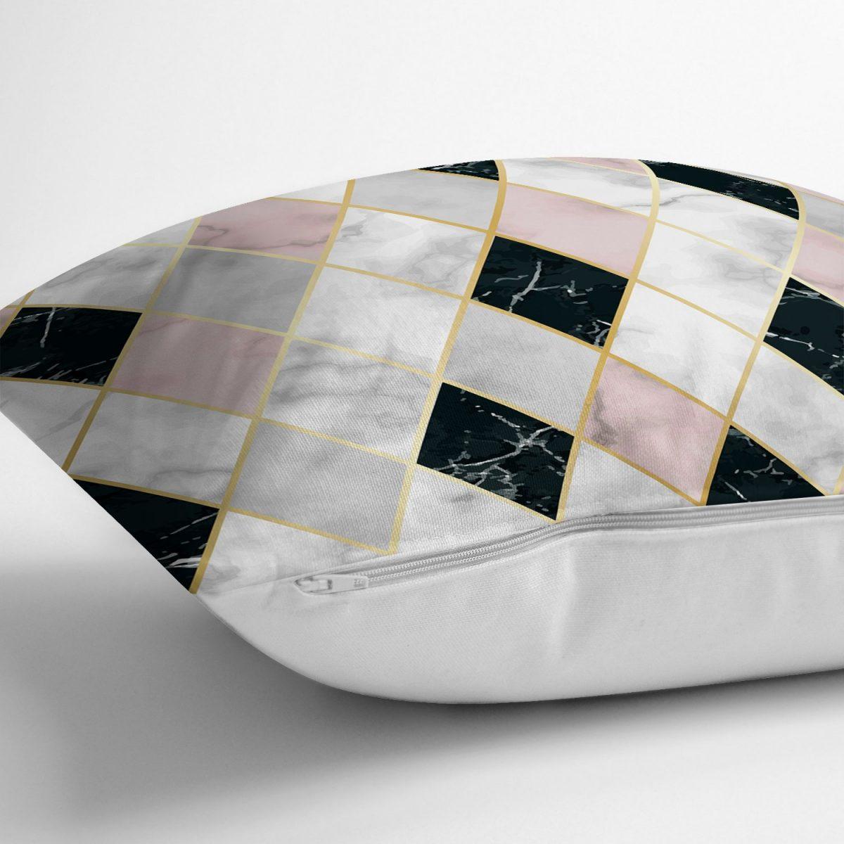 Mermer Zeminli Baklava Desenli Özel Tasarım Yastık Kırlent Kılıfı Realhomes