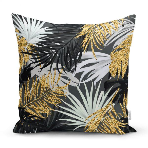 Siyah Zeminde Palmiye Yaprakları Özel Tasarım Yastık Kırlent Kılıfı Realhomes