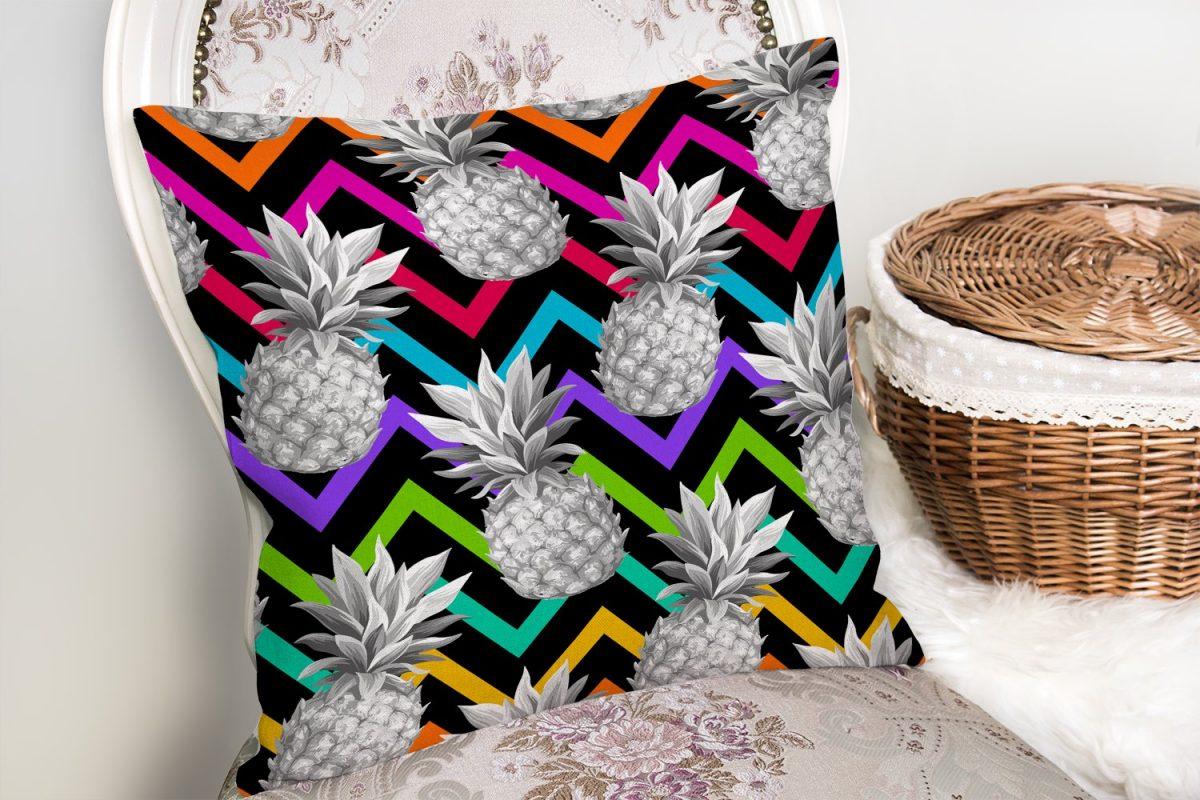 Siyah Zigzag Temalı Ananas Desenli Modern Yastık Kırlent Kılıfı Realhomes