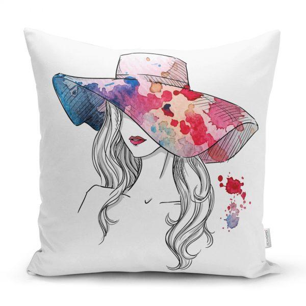 Renkli Şapka Tasarımlı Dijital Baskılı Dekoratif Yastık Kırlent Kılıfı Realhomes