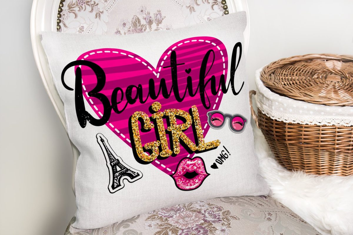 Beautiful Girl Tasarımlı Popart Dekoratif Yastık Kırlent Kılıfı Realhomes