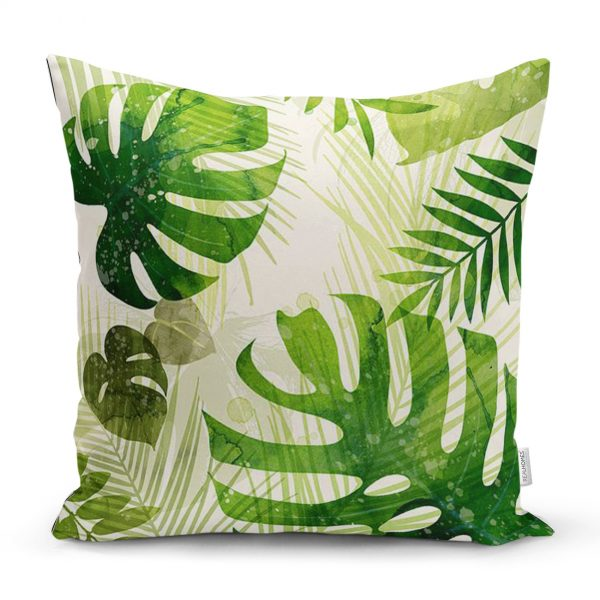 Çuval Zeminde Yeşil Yaprak Desenli Özel Tasarım Yastık Kırlent Kılıfı Realhomes