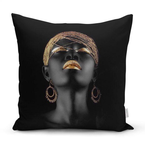 Siyahi Kadın Özel Tasarımlı Modern Dekoratif Yastık Kırlent Kılıfı Realhomes