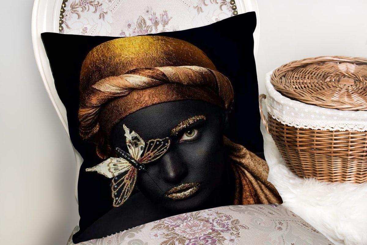 Gold Siyahı Kadın Özel Tasarımlı dekoratif Yastık Kırlent Kılıfı Realhomes